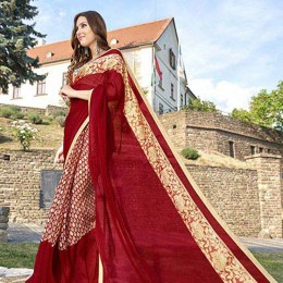 Maroon Georgette N Chiffon Traditional Printed Saree