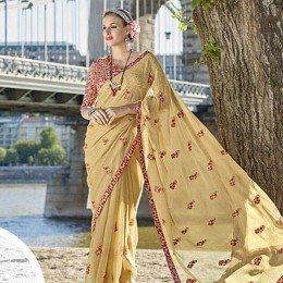 Beige Faux Georgette Traditional Embroidered Saree