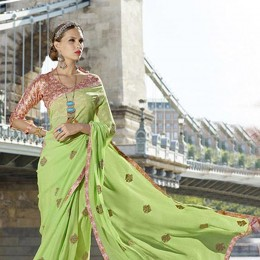 Traditional Green Embroidered Saree
