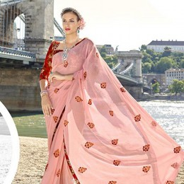 Perfect Peach Chiffon Traditional Embroidered Saree