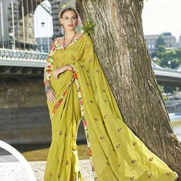 Evergreen Faux Georgette Traditional Embroidered Saree