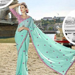 Cool Blue Chiffon Traditional Embroidered Saree