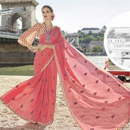 Peach Traditional Embroidered Saree