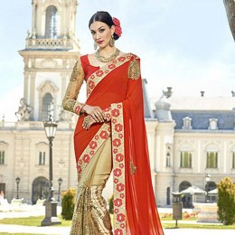 Beige Georgette Net Half N Half Embroidered Saree
