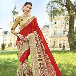 Red Net Georgette Traditional Embroidered Saree