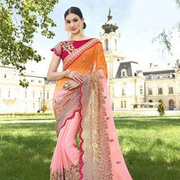 Pink Faux Georgette Traditional Embroidered Saree