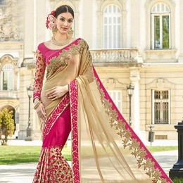 Pink Georgette Net Half N Half Embroidered Saree