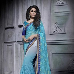 SkyBlue Colored Embroidered Chiffon Partywear Saree