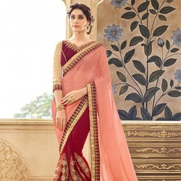 Red Embroidered Chiffon Faux Georgette Festive Saree