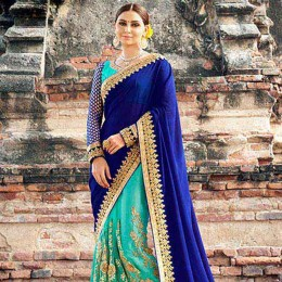 SkyBlue Colored Embroidered Super Net Chiffon Partywear Saree