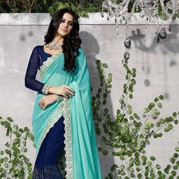 Blue Colored Embroidered Georgette Chiffon Partywear Saree
