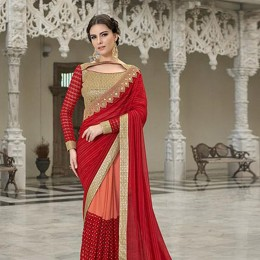 Red Embroidered Chiffon Georgette Net Partywear Saree