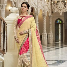 Yellow Colored Embroidered Chiffon Net Partywear Saree
