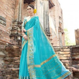 Calm Sky Blue Art Silk Saree