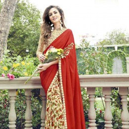 Red and Off White Festive Wear Printed Saree