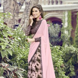 Appealing Pink and Brown Combination Saree