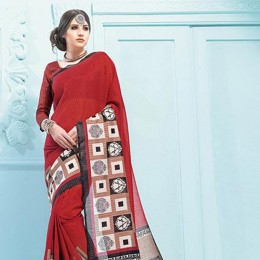 Maroon Blended Cotton Geometrical Printed Saree