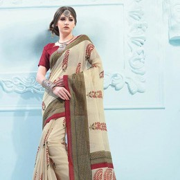 Blended Cotton Traditional Printed Saree Beige