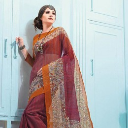 Maroon Blended Cotton Traditional Printed Saree