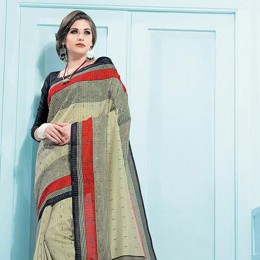 Blended Cotton Printed Saree In Beige