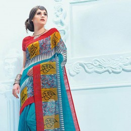 SkyBlue Blended Cotton Traditional Printed Saree