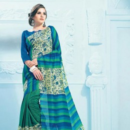 Green Blended Cotton Traditional Printed Saree
