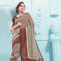 Beige Blended Cotton Traditional Printed Saree