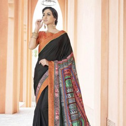 Trendy Black Printed office wear Art Silk Saree