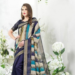 Blended Cotton Art Silk Saree In Blue