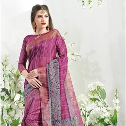 Purple Blended Cotton Art Silk Festive Saree