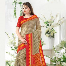 Beautiful Beige Blended Cotton Art Silk Officewear Saree