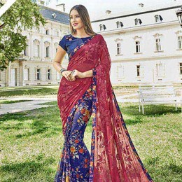 Embroidered Blue Georgette N Chiffon Saree