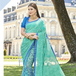 Embroidered SkyBlue Georgette Chiffon Saree