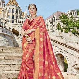 Lively Orange Banarasi Silk Jacquard Saree