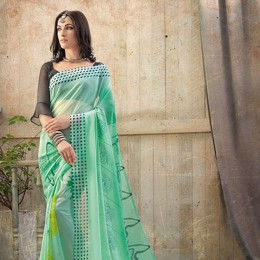 Green Chiffon Floral Printed Saree