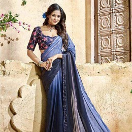 Blue Georgette Satin Traditional Border Printed Saree