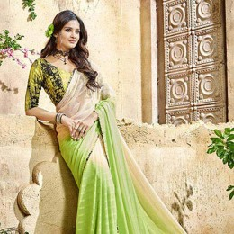 Green Georgette N Satin Printed Saree