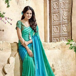 Green Faux Georgette Traditional Border Printed Saree