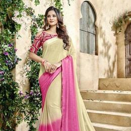 Beige Georgette N Satin Printed Saree