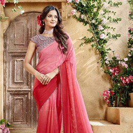 Red Georgette Satin Traditional Border Printed Saree