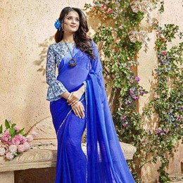 Blue Faux Georgette Traditional Border Printed Saree