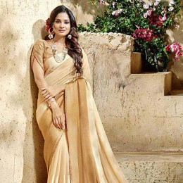 Beige Georgette Satin Traditional Border Printed Saree