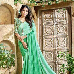 Green Georgette Satin Traditional Border Printed Saree