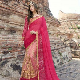 Georgette Peach and Beige Festive Saree