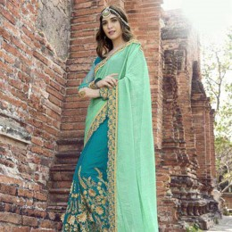 Sky Blue Embroidered Party Wearing Saree