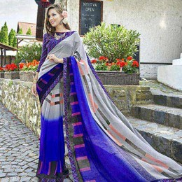 Sweet Multi Colored Faux Georgette Saree