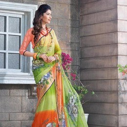 Ravishing Green Chiffon Floral Printed Saree