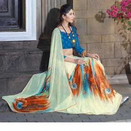 Off White Chiffon Traditional Printed Saree