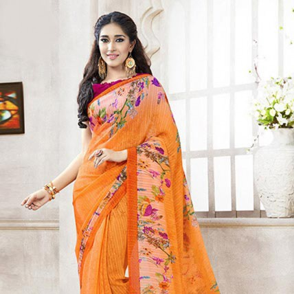 Orange Colored Printed Faux Georgette Saree
