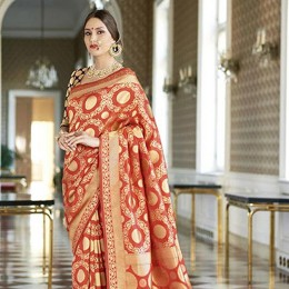 Orange Banarasi Silk Woven Wedding Saree